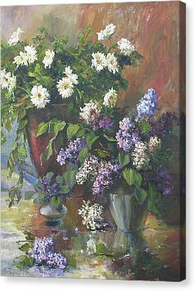 Canvas Print featuring the painting Lilacs And Asters by Tigran Ghulyan