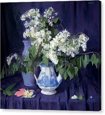 Lilacs And Blue Canvas Print