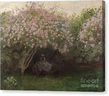 Weathered Canvas Print - Lilacs by Claude Monet