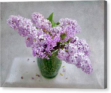 Lilacs In A Green Tankard Still Life Canvas Print
