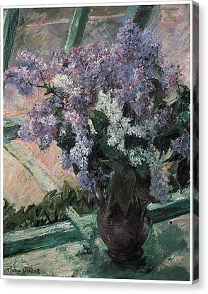 Lilacs In A Window Canvas Print by Mary Cassatt