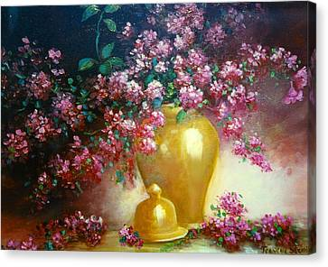Lilacs In Gold Vase Canvas Print by Jeanene Stein