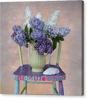 Lilacs With Chair And Shell Canvas Print by Jeff Burgess