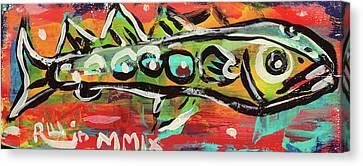 Lil'funky Folk Fish Number Nineteen Canvas Print by Robert Wolverton Jr