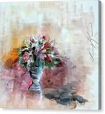 Table Canvas Print - Lilies And A Blanket Painting by Lisa Kaiser