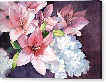 Lilies And Hydrangeas - II Canvas Print