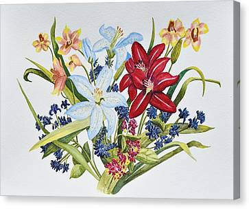 Crimson Lilies Canvas Print - Lilies And Orchids by Linda Brody
