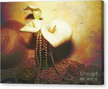 Lilies And Pearls Canvas Print by KaFra Art