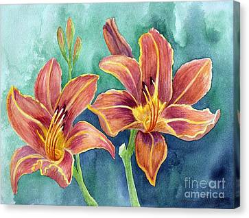 Canvas Print featuring the painting Lilies by Eleonora Perlic