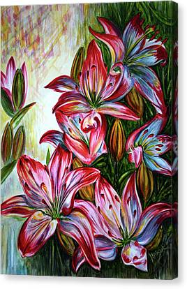 Canvas Print featuring the painting Lilies by Harsh Malik