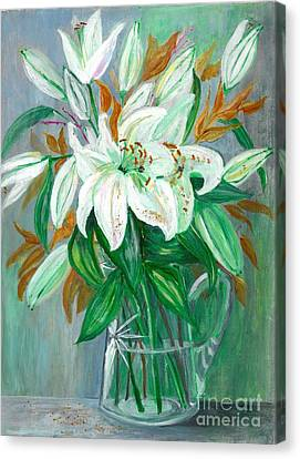 Lilies In A Glass Vase - Painting Canvas Print by Veronica Rickard