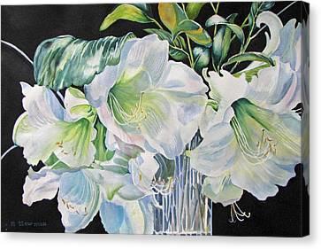 Lilies-in-milan Canvas Print by Nancy Newman