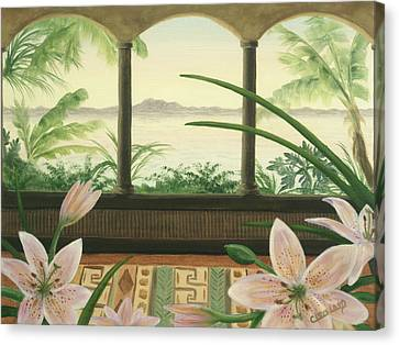 Lilies In Paradise Canvas Print by Cathy Cleveland