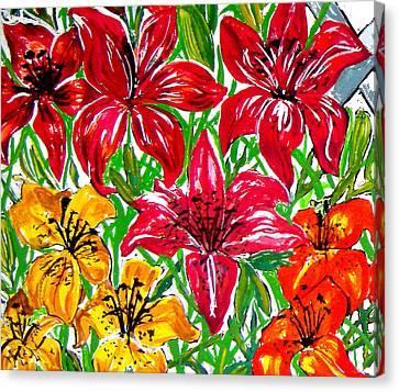 Lilies Canvas Print by Nancy Rucker
