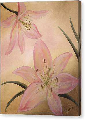 Lilies Part1 Canvas Print by Cathy Cleveland