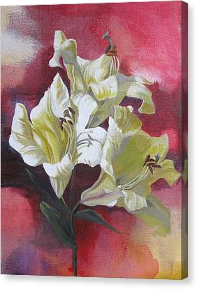 Lilies With Red Canvas Print by Alfred Ng