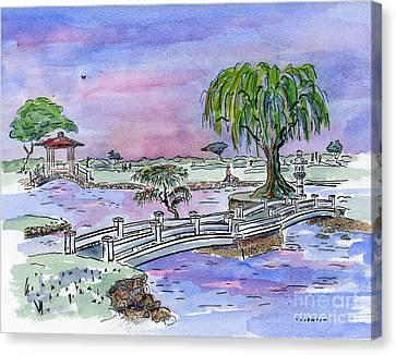 Japanese Maple Canvas Print - Liliuokalani Park Hilo Hawaii by Diane Thornton