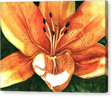 Canvas Print featuring the painting Lilly Of The Garden by Sharon Mick