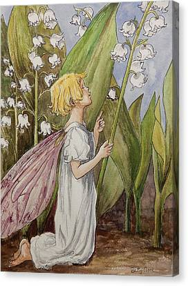 Lily Of The Valley Fairy After Cicely Mary Barker Canvas Print by Betty-Anne McDonald