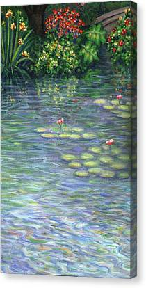 Lily Pads Triptych Part Three Canvas Print by Linda Mears