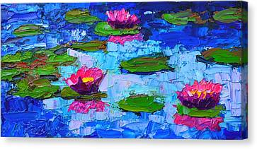 Lily Pond Impression - Pink Waterlilies  Canvas Print by Ana Maria Edulescu