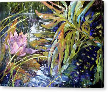 Lily Pond Light Dance Canvas Print by Rae Andrews