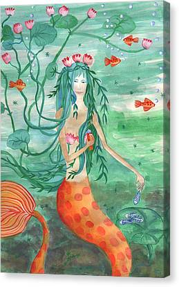 Lily Pond Mermaid With Goldfish Snack Canvas Print by Sushila Burgess