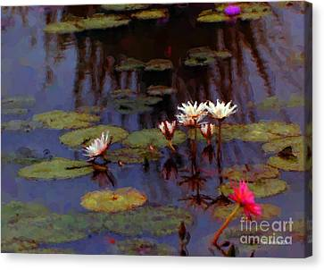 Lily Pond Watercolor Canvas Print