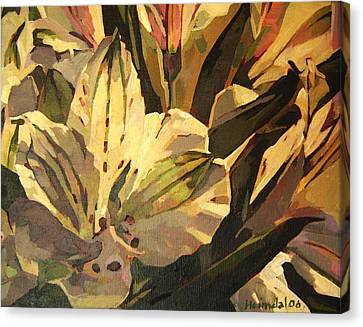 Canvas Print featuring the painting Lily White by Tim  Heimdal