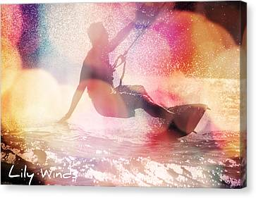 Lily Winds Kiteboarding - Glow Canvas Print by Lily Winds