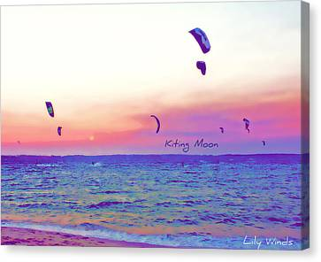 Lily Winds Kiting Moon Blue Canvas Print by Lily Winds