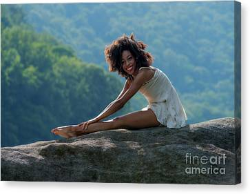 Limbering Up On A Rock Canvas Print by Dan Friend