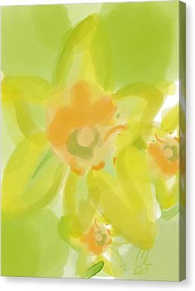 Lime Flower Burst Canvas Print by Carl Griffasi