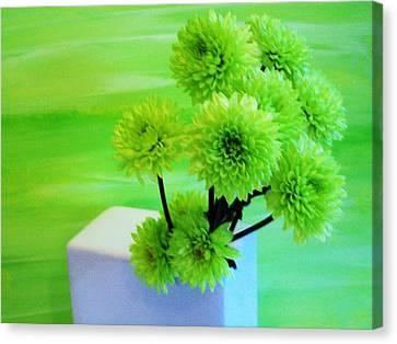 Lime Flowers Canvas Print by Marsha Heiken