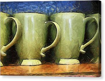 Lime Green Cups Canvas Print by Paulette B Wright