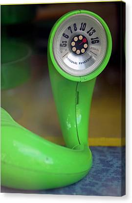 Canvas Print featuring the photograph Lime Green Twisted Radio by Matthew Bamberg