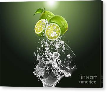 Produce Canvas Print - Lime Splash by Marvin Blaine