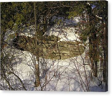 Limestone And Snow Canvas Print by Richard Mitchell