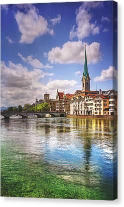 Limmat River Zurich Switzerland  Canvas Print