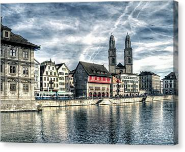 Canvas Print featuring the photograph Limmat Riverfront by Jim Hill