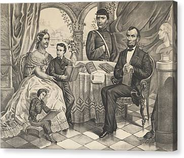 Lincoln And His Family Canvas Print by American School