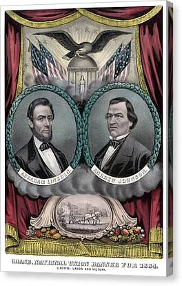 Lincoln And Johnson Election Banner 1864 Canvas Print by War Is Hell Store