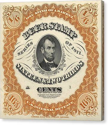 1871 Lincoln Beer Tax Stamp Canvas Print