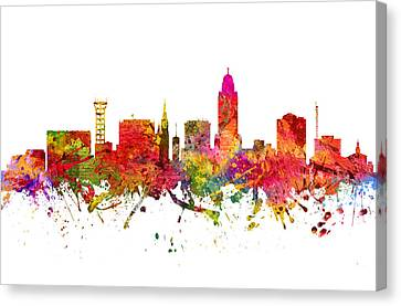 Lincoln Cityscape 08 Canvas Print by Aged Pixel