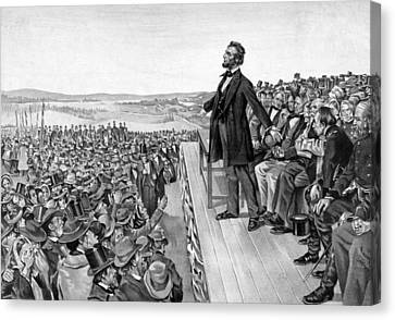 Patriots Canvas Print - Lincoln Delivering The Gettysburg Address by War Is Hell Store