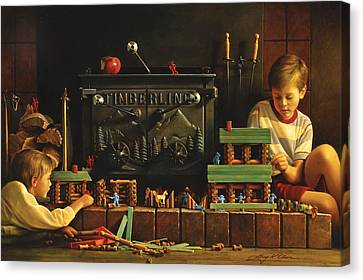 Oil Canvas Print - Lincoln Logs by Greg Olsen