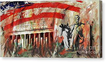 Lincoln Memorial And Lincoln Statue Canvas Print by Gull G