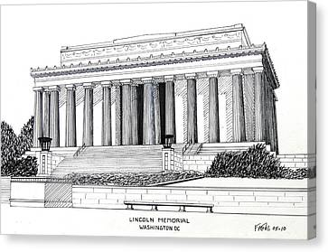 Lincoln Drawings Canvas Print - Lincoln Memorial  by Frederic Kohli