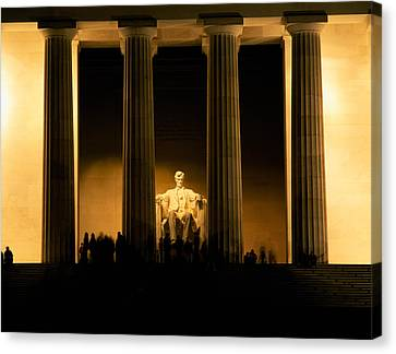 Lincoln Memorial Illuminated At Night Canvas Print by Panoramic Images