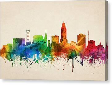 Lincoln Nebraska Skyline 05 Canvas Print by Aged Pixel